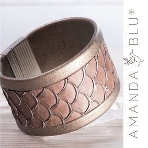 Amanda Blu Genuine Leather Fish Scales Thick Cuff